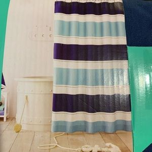 New striped blue shower curtain